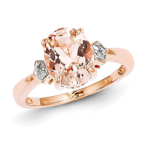 14kt Rose Gold 2.2 ct Oval Morganite Ring with Diamonds
