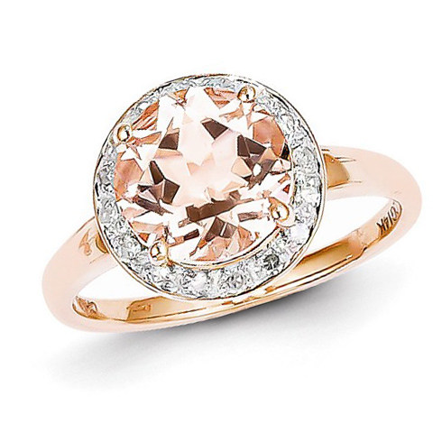 14kt Rose Gold 2.7 ct Morganite Ring with 1/8 ct Diamond Accents