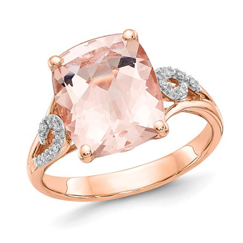 14k Rose Gold 4.1 ct Cushion Morganite Ring .05 ct Diamond Accents