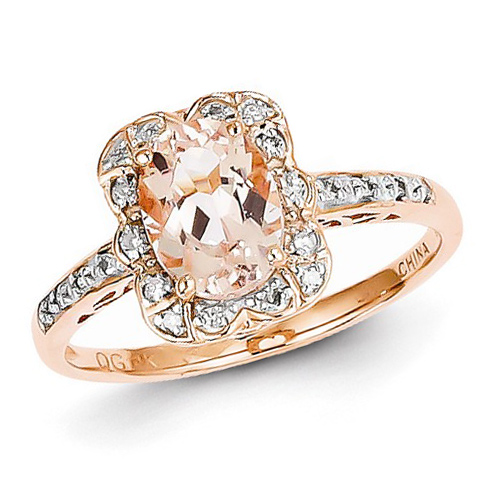 14kt Rose Gold 1 ct Oval Morganite Ring with 1/10 ct Diamond Accents