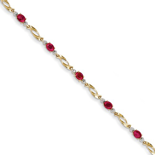 14kt Yellow Gold 2 ct tw Composite Ruby Bracelet with Diamond Accents