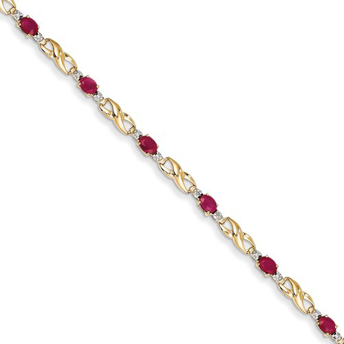 14kt Yellow Gold 2.2 ct tw Composite Ruby Diamond Accent Bracelet