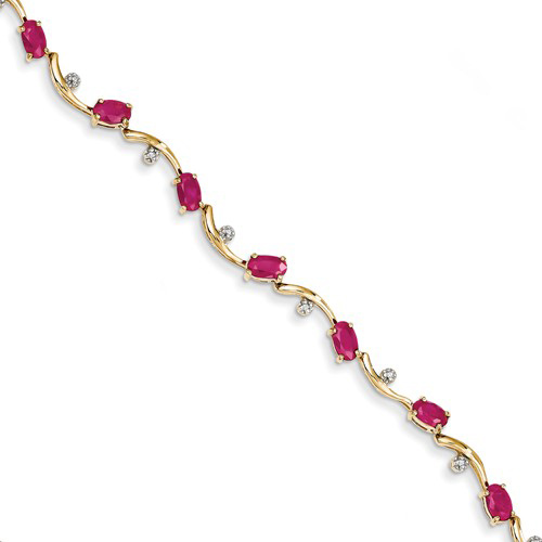 14kt Yellow Gold 3.6 ct tw Composite Ruby Bracelet with Diamond Accents