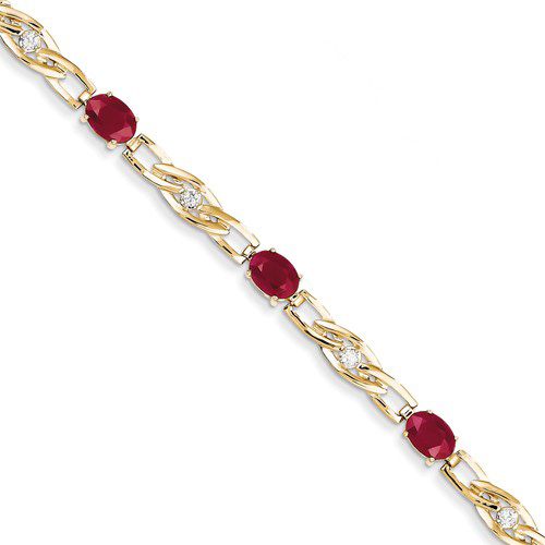 14kt Yellow Gold 6 ct tw Ruby Bracelet with Diamond Accents