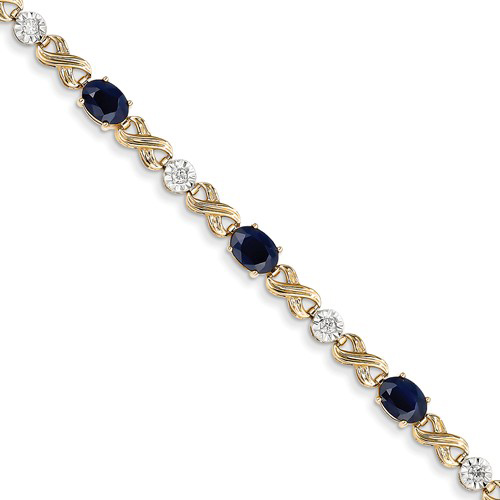 14kt Yellow Gold 4 ct tw Sapphire Bracelet with Diamond Accents