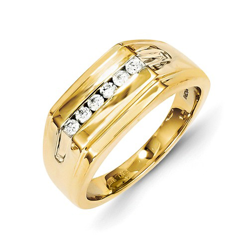 14kt Yellow Gold 1/4 ct Diamond Channel Men's Ring