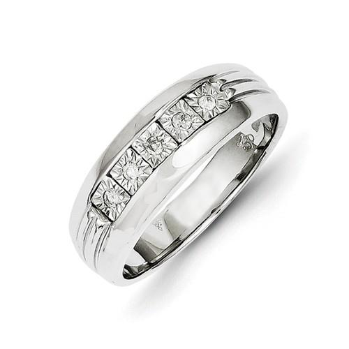 14kt White Gold 1/10 ct Diamond Men's Ring
