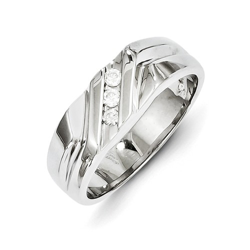 14kt White Gold Men's Ring with 3 Diamonds