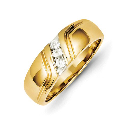 14kt Yellow Gold Men's Ring with .15 ct tw Diamond Accents