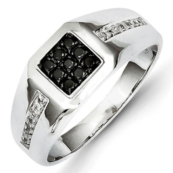 14kt White Gold 1/4 ct Black and White Diamond Men's Ring