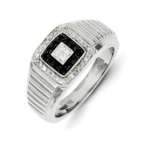 14kt White Gold 1/3 ct Black and White Diamond Men's Ring
