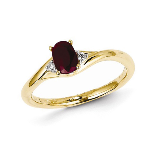 14kt Yellow Gold 5/8 ct Oval Ruby Ring with Diamonds