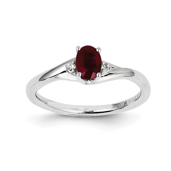 14kt White Gold 5/8 ct Oval Ruby Ring with Diamonds