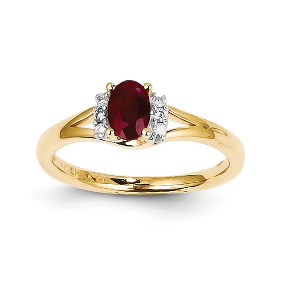 14kt Yellow Gold 5/8 ct Oval Ruby Ring with 1/15 ct Diamond Accents