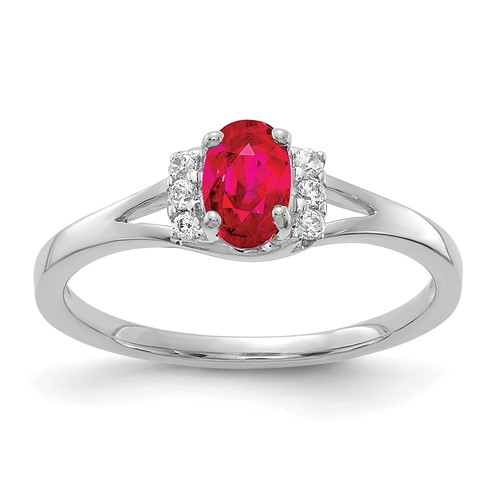 14kt White Gold 5/8 ct Oval Ruby Ring with 1/15 ct Diamond Accents