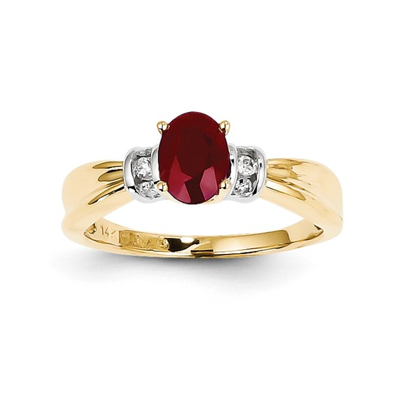 14kt Two-tone Gold 1 ct Oval Ruby Ring with 1/10 ct Diamond Accents