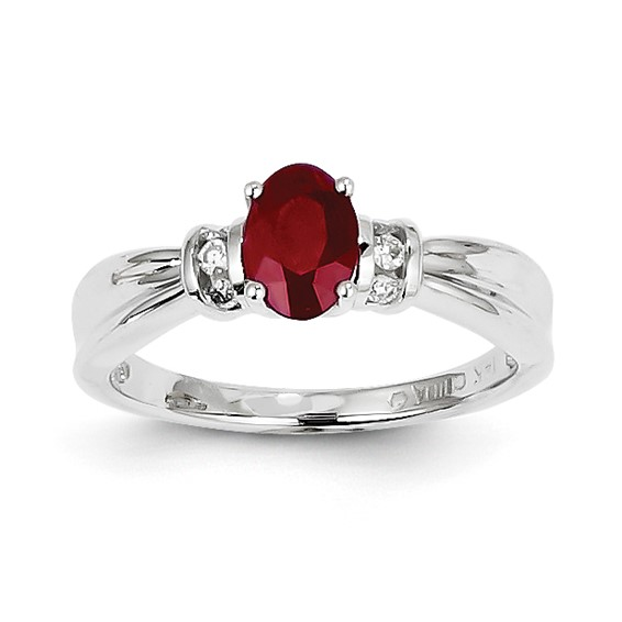 14kt White Gold 1 ct Oval Ruby Ring with 1/10 ct Diamond Accents