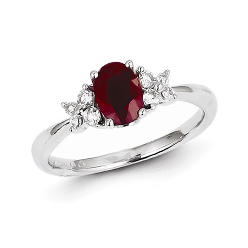 14kt White Gold 1 ct Oval Ruby Ring with 1/5 ct Diamond Accents