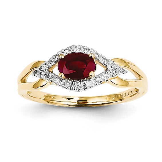14kt Yellow Gold 5/8 ct Oval Ruby Ring with 1/10 ct Diamond Accents