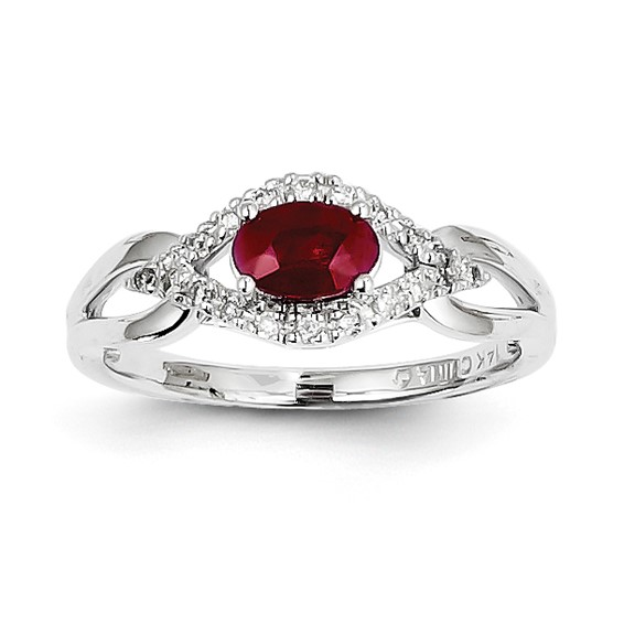14kt White Gold 5/8 ct Oval Ruby Ring with 1/10 ct Diamond Accents