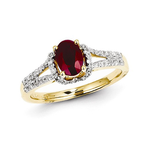 14kt Yellow Gold 1 ct Oval Ruby Ring with Diamonds
