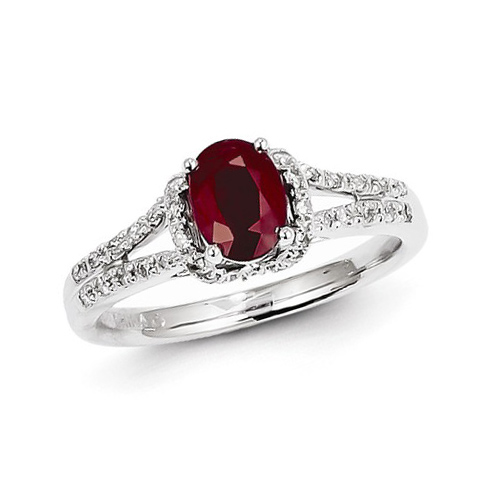 14kt White Gold 1 ct Oval Ruby Ring with Diamonds