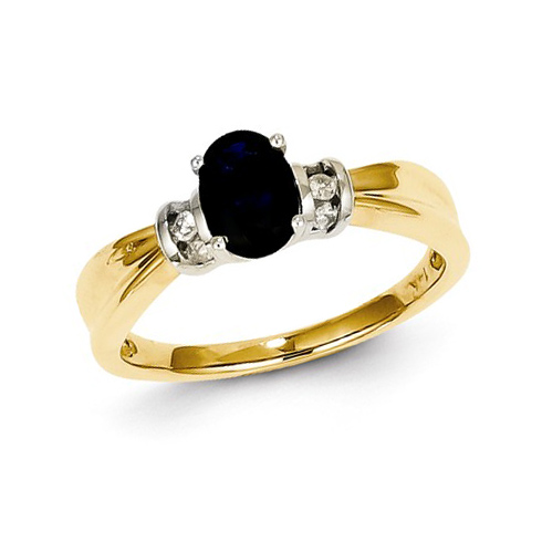 14kt Yellow Gold 1 ct Oval Sapphire Ring with Diamonds