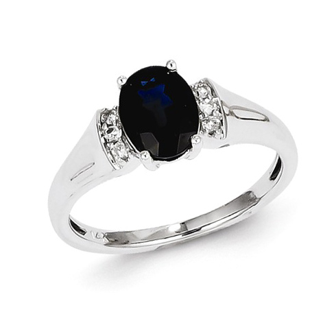 14kt White Gold 1.6 ct Oval Sapphire Ring with Diamonds