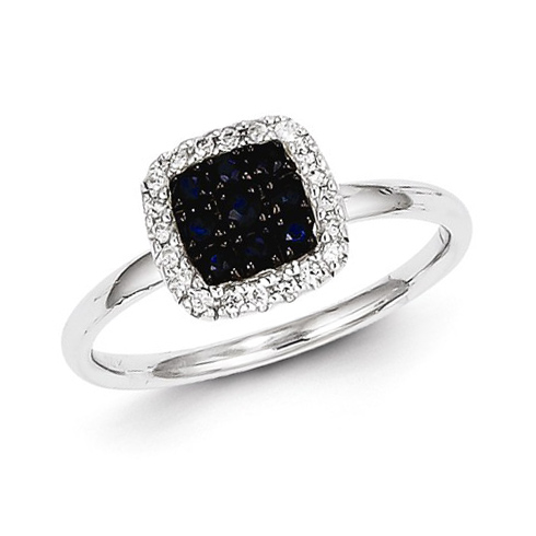 14kt White Gold 1/3 ct Sapphire Square Ring with Diamonds