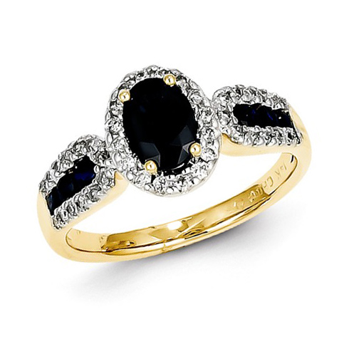 14kt Yellow Gold 1 1/3 ct Oval Sapphire Ring with Diamonds