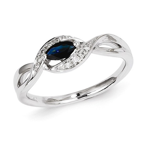 14kt White Gold 1/3 ct Marquise Sapphire Ring with Diamonds