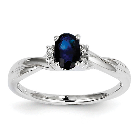 14kt White Gold 2/3 Ct Oval Sapphire Ring with 1/20 ct Diamond Accents