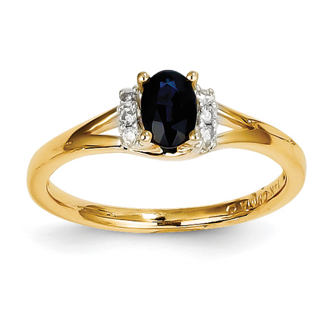 14kt Yellow Gold 2/3 Ct Oval Sapphire Ring with 1/15 ct Diamond Accents