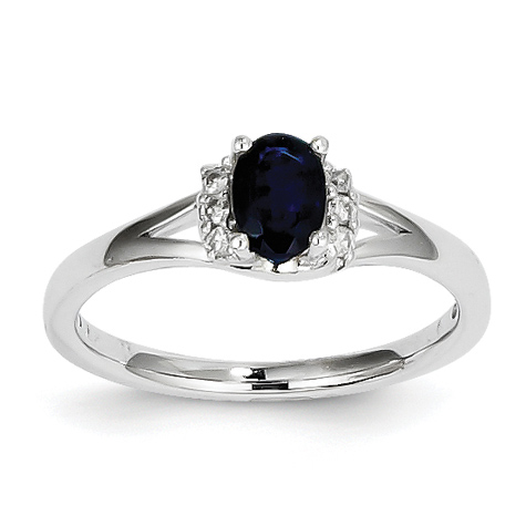 14kt White Gold 2/3 Ct Oval Sapphire Ring with 1/15 ct Diamond Accents