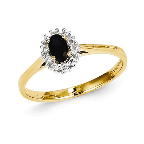 14kt Yellow Gold 1/3 ct Oval Sapphire Ring with Diamond Accents
