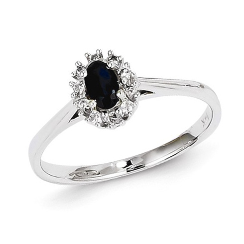 14kt White Gold 1/3 ct Oval Sapphire Halo Style Ring with Diamond Accents