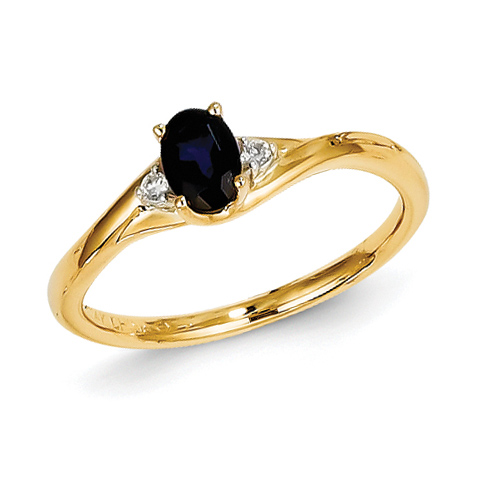 14kt Yellow Gold 2/3 Ct Oval Sapphire Bypass Ring with .03 ct tw Diamond Accents