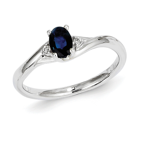 14kt White Gold 2/3 Ct Oval Sapphire Bypass Ring with .03 ct tw Diamond Accents
