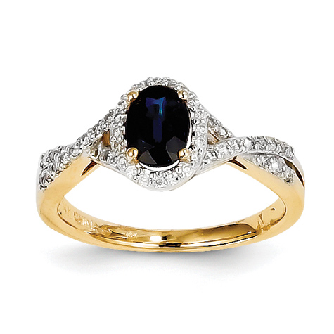 14kt Yellow Gold 1 Ct Oval Sapphire Ring with 1/5 ct Diamond Accents