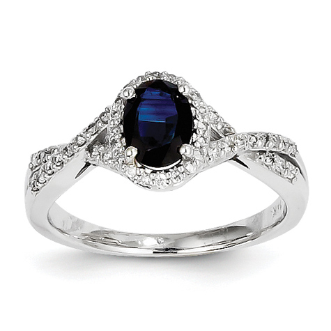 14kt White Gold 1 Ct Oval Sapphire Ring with 1/5 ct Diamond Accents