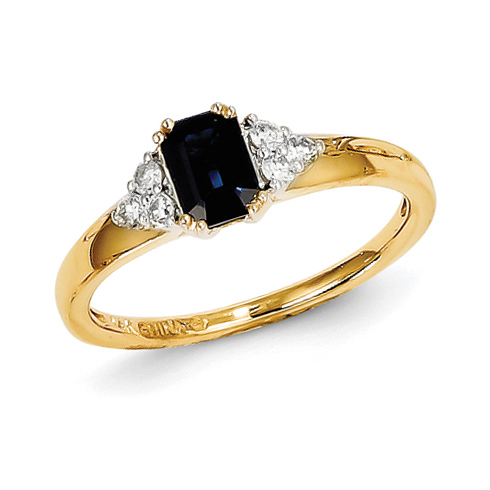 14kt Yellow Gold 2/3 Ct Radiant Cut Sapphire Ring with 1/6 ct Diamond Accents