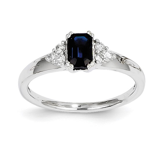 14kt White Gold 2/3 Ct Radiant Sapphire Ring with Diamonds
