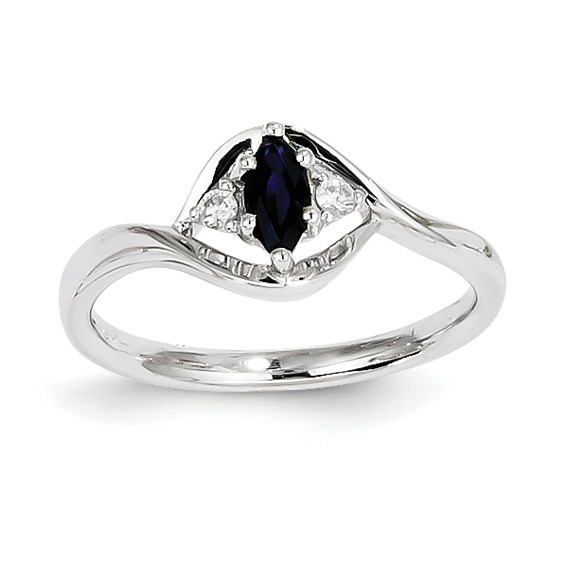 14kt White Gold 1/3 ct Marquise Sapphire Bypass Ring with Diamonds