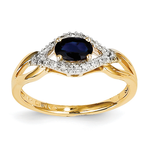 14kt Yellow Gold 2/3 Ct Oval Sapphire Bypass Ring with 1/10 ct Diamond Accents
