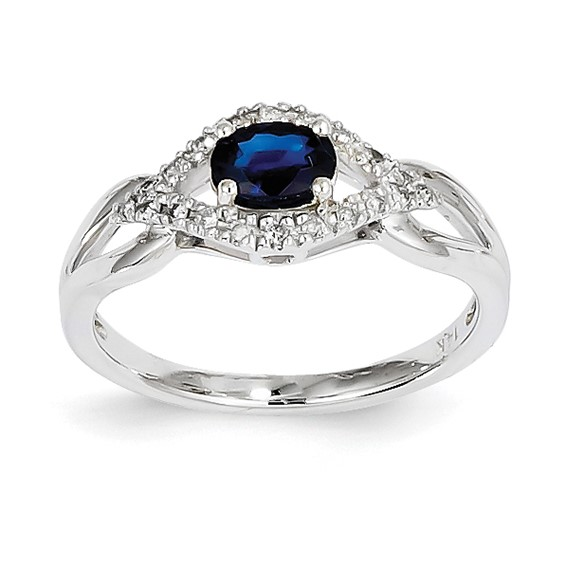 14kt White Gold 2/3 Ct Oval Sapphire Bypass Ring with 1/10 ct Diamonds