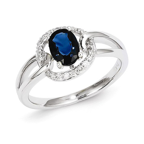 14kt White Gold 1 ct Oval Sapphire Loop Ring with Diamonds