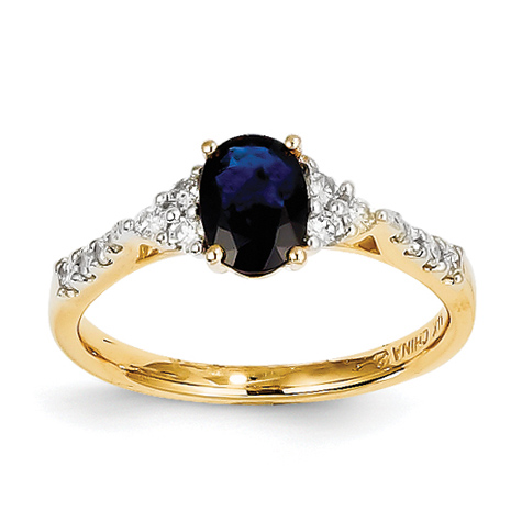 14kt Yellow Gold 1 Ct Oval Sapphire Ring with 1/4 ct Diamond Accents