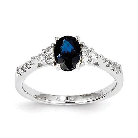 14kt White Gold 1 Ct Oval Sapphire Ring with 1/4 ct Diamond Accents