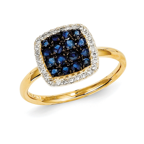 14kt Yellow Gold 2/3 Ct Sapphire Ring with 1/8 ct Diamond Accents