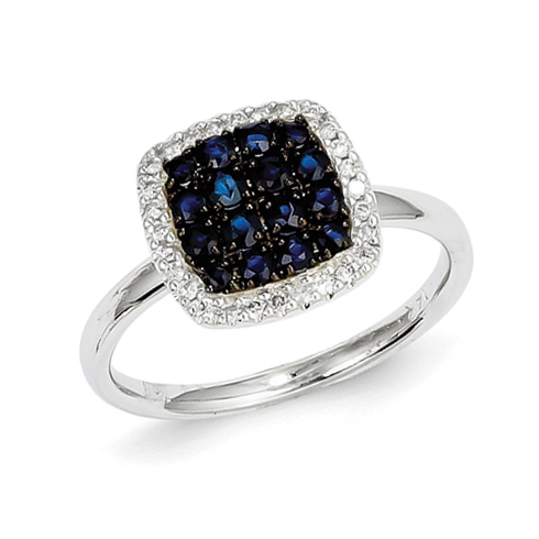 14kt White Gold 2/3 Ct Sapphire Ring with 1/8 ct Diamond Accents
